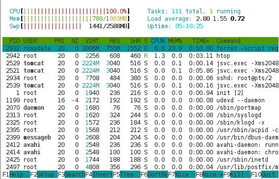 High kernel load in htop