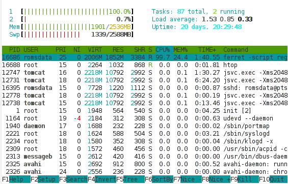 Htop with high use processor time